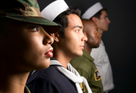 men and women in various branches of the military next to eachother