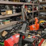 outdoor power equipment in shop