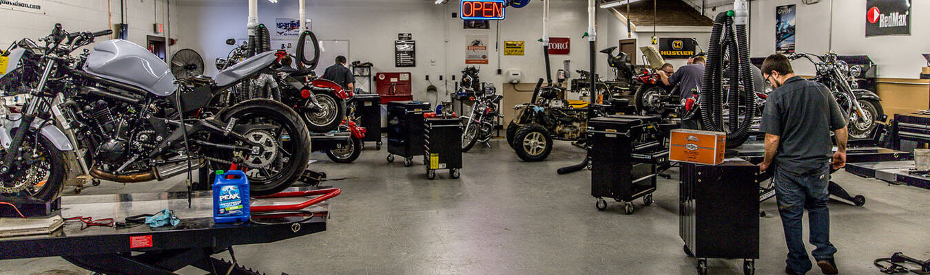 view of the motorcycle lab at the New Castle Satellite Campus