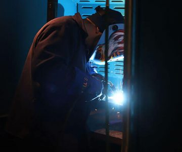 ncst student welding in lab